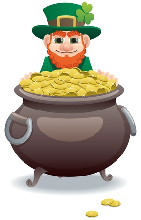 Wily leprechaun, tempting you with his pot of gold. No transparency used. Basic (linear) gradients used.  Vector