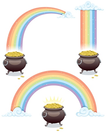 Pot of gold and rainbow in 3 different versions. No transparency used. Basic (linear) gradients.  Vector