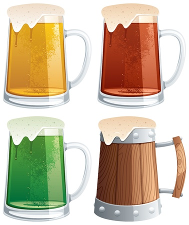 4 beer mugs.  No transparency used. Basic (linear) gradients.