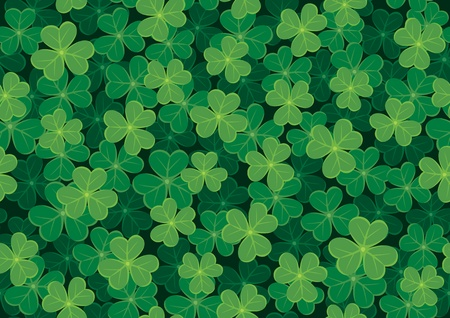 Seamless clover tile. Place them together to create a larger background. No transparency and gradients used.  Vector