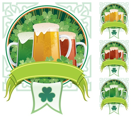 Three beer mugs on clover background with copy space under them. 3 additional versions are included on the right.  No transparency used. Basic (linear) gradients.  Vector
