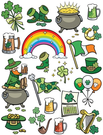 Set of 20 design elements on Saint Patricks Day theme.  No transparency and gradients used.  Vector