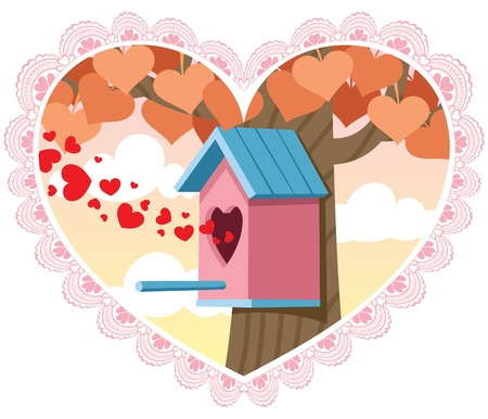 birdhouse: Greeting card for Saint Valentines Day. No transparency used. Basic (linear) gradients.