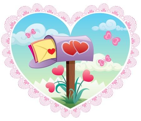 recibo: Tarjeta de felicitación para el Día de San Valentín. No hay transparencia utilizada. Básico (lineal) pendientes.