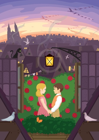 "Kay and Gerda, from the ""Snow Qween"" fairy tale, holding hands in their little garden at the rooftop. No transparency and gradients used. Stock Vector - 12020202"
