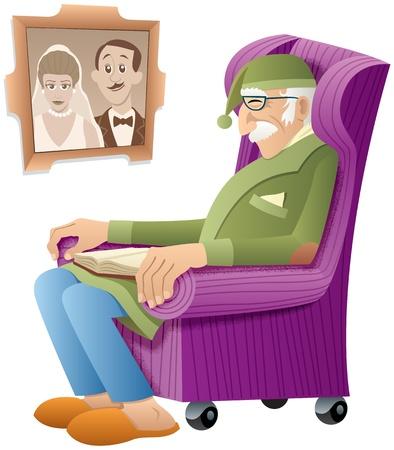 Oude man, slapen in zijn stoel met een boek op zijn schoot.