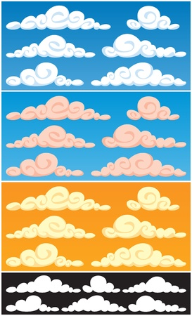 A collection of cartoon clouds in 3 color versions and silhouettes.  Vector