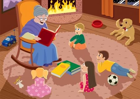 Abuelita está leyendo los cuentos de hadas a sus nietos.