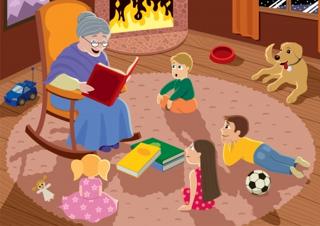 Granny is reading fairy tales to her grandchildren. Vector