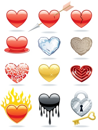 Set of 12 heart icons. No transparency used in the vector file. Basic (linear) gradients.  Vector