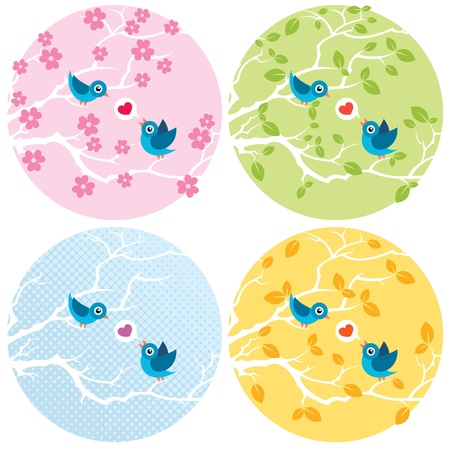 Stylized illustration of 2 birds in love. 4 versions for the different seasons.  No transparency and gradients used.  Vector