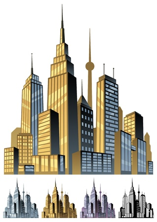 Comic book city in 5 color versions. No transparency used. Basic (linear) gradients.