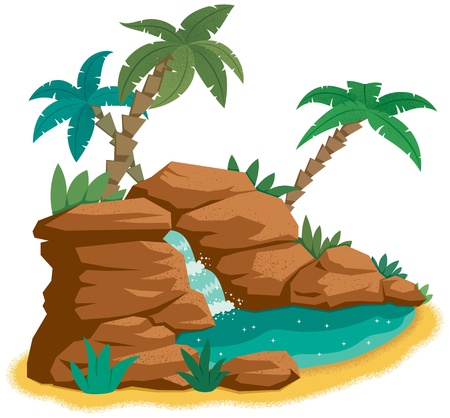 Cartoon desert oasis.  No transparency and gradients used.   Vector
