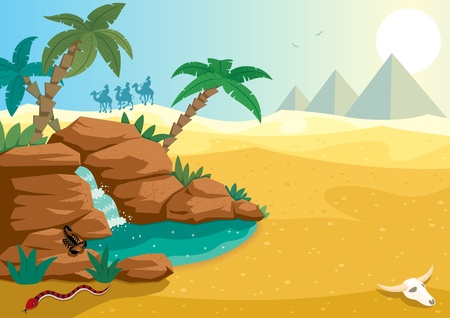 Cartoon illustration of small oasis in the Sahara desert. A4 proportions. No transparency used. Basic (linear) gradients
