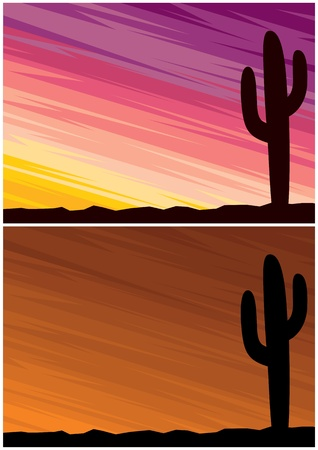 Cartoon landscape of a desert at dusk. 2 color variations. No transparency and gradients used.  Vector