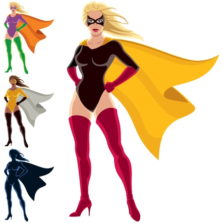 Female superhero over white background. She is in 4 different versions, one of them is a silhouette.  You can remove the mask from her face in the vector file if you want to.  No transparency and gradients used.