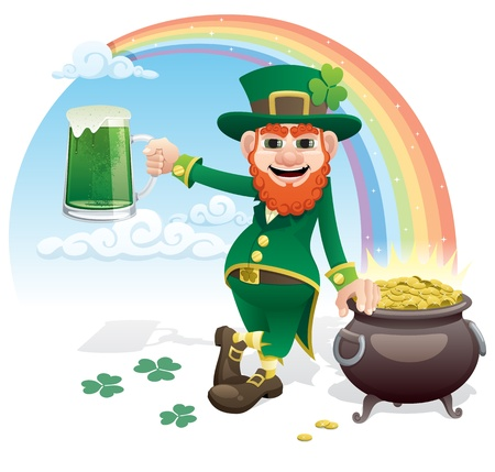 Wily leprechaun with a glass of green beer and a pot of gold.  Ilustrace