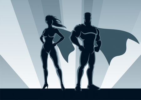 Male and female superheroes, posing in front of a light.
