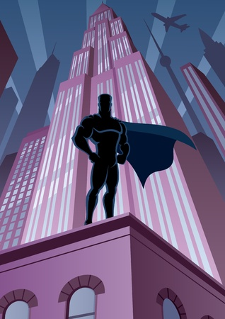 comic book: Superhero watching over the city.   Illustration