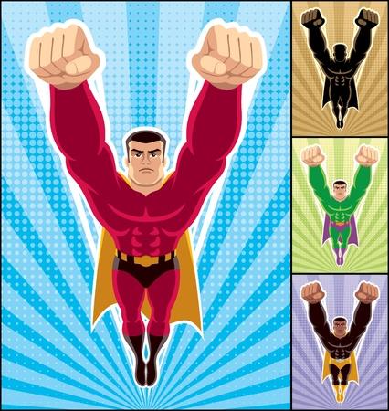 super human: Superh�roe en la acci�n. 3 versiones adicionales de la ilustraci�n de las mismas.