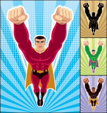 Superhero in action. 3 additional versions of the illustration are also included.  Vector