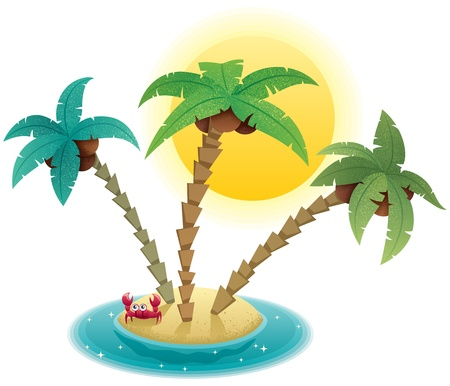 island clipart: Small tropical island on white background.