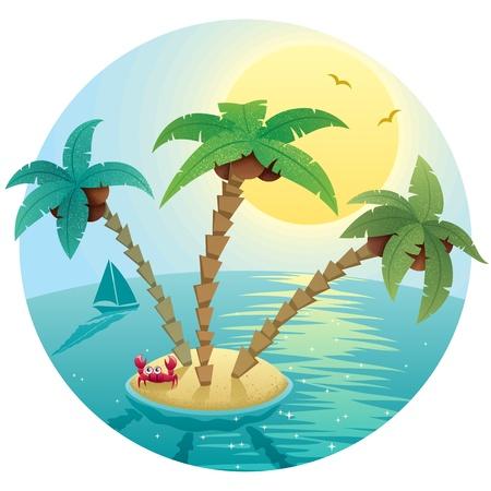 cangrejo: Paisaje con pequeña isla tropical.