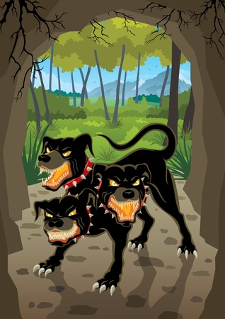 Cerberus is guarding the entrance to the Underworld  No transparency used  Basic  linear  gradients  Stock Vector - 12496641
