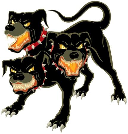 headed: Le tre teste di cane - Cerberus No trasparenza e sfumature utilizzate Vettoriali