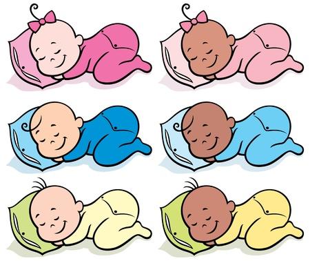 Colección de 6 bebés duermen sobre el fondo blanco no la transparencia y gradientes usados
