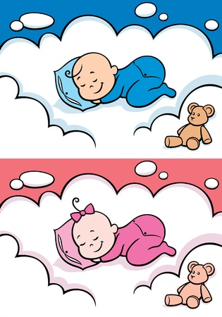 baby sleeping: Cartoon baby sleeping on a cloud   The illustration is in 2 versions for baby boy and baby girl   You can extend the color of the sky, or the white color of the cloud to make place for your text