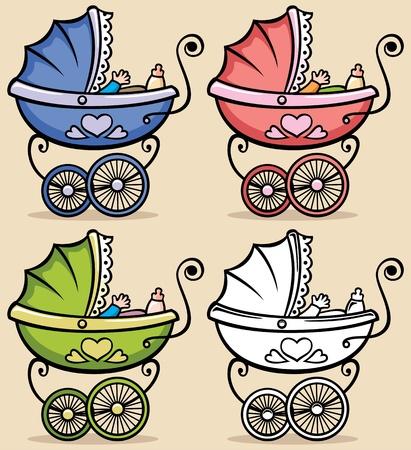 nazca: Cochecito de beb� Retro en 4 versiones sin transparencia y gradientes utilizados Vectores