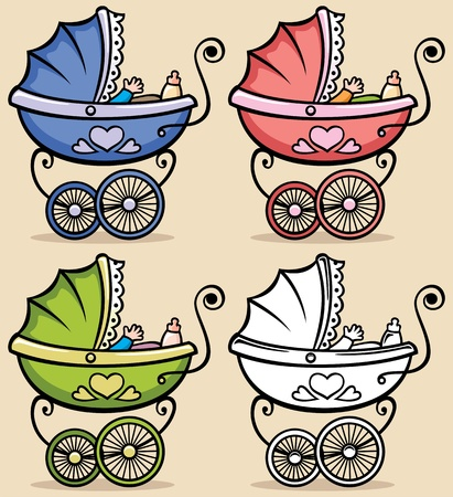 Retro baby stroller in 4 versions  No transparency and gradients used   Ilustrace