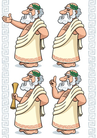 Cartoon Greek philosopher in 4 different poses.  No transparency and gradients used.  Vector