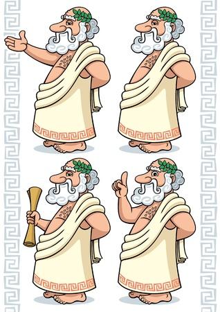 a poet: Fil�sofo griego, de dibujos animados en 4 diferentes poses. Sin transparencia y gradientes utilizado. Vectores