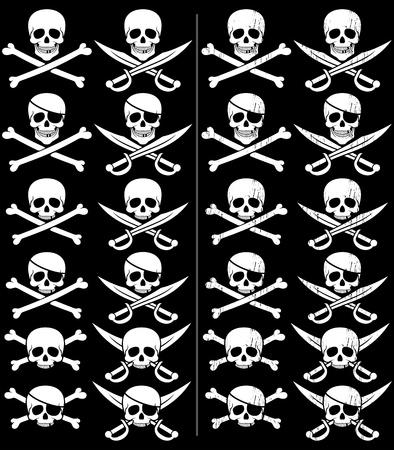 calavera pirata: Jolly Roger en 24 versiones diferentes. Los de la derecha son con efecto grunge. Sin transparencia y gradientes utilizado.