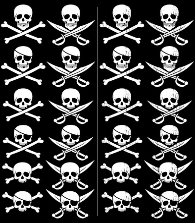 Jolly Roger in 24 different versions. Those on the right are with grunge effect. No transparency and gradients used.  Vector