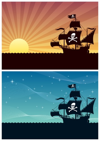 Two cartoon backgrounds with pirate ships. Each is in A4 proportions, but you can extend the black area downwards. No transparency used. Basic (linear) gradients.