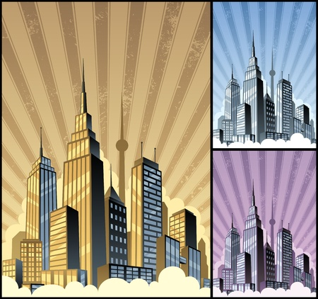 Cartoon city. Basic (linear) gradients used. Vector