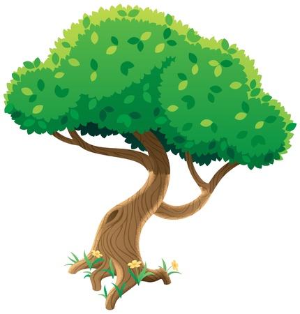 Cartoon Baum auf weißem Hintergrund. Keine Transparenz verwendet. Grundlegende (lineare) Farbverläufe.