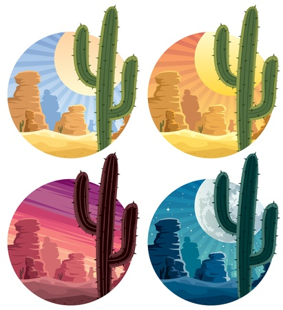 Mexican desert landscape in 4 different versions.  No transparency used. Basic (linear) gradients.  Vector