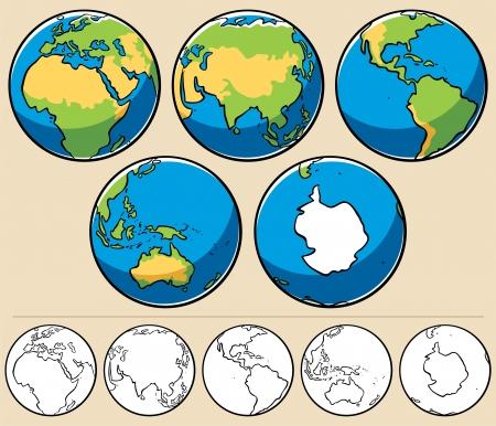 erde gelb: Cartoon Darstellung des Planeten Erde aus gesehen 5 verschiedenen Winkeln. Hier sind die gleichen Globen ungef�rbt.