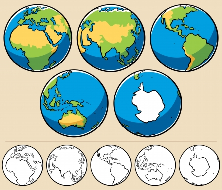 east asia: Cartoon illustration of planet Earth viewed from 5 different angles. Below are the same globes uncolored.