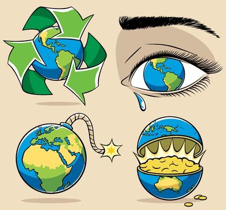 wenen: 4 conceptuele illustraties over milieu-onderwerpen. Geen transparantie en gradiënten.