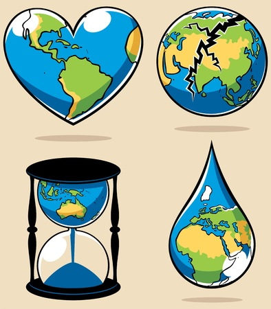 conserve: 4 illustrations conceptuelles sur des sujets environnementaux. Pas de transparence et des d�grad�s utilis�s. Illustration
