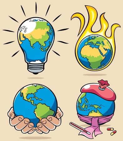 4 konzeptionelle Abbildungen auf Umweltthemen. Keine Transparenz und Verläufe verwendet.
