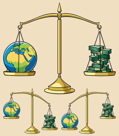 Conceptual illustration on environmental theme, representing Earth weighted on scales against money. It is in 3 versions. Vector