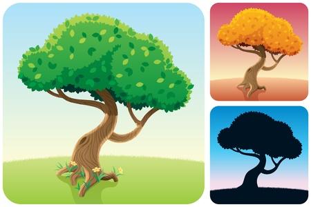 Cartoon vierkante landschap met een boom in 3 versies. Geen transparantie gebruikt. Basis (lineaire) gradiënten.