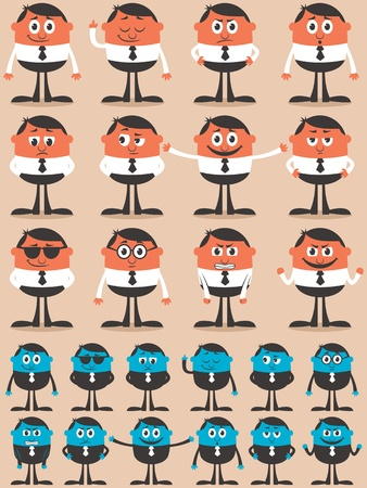 Retro businessman character in 12 different emotions and 24 versions.  Easy to change colors. No transparency and gradients used.  Illustration