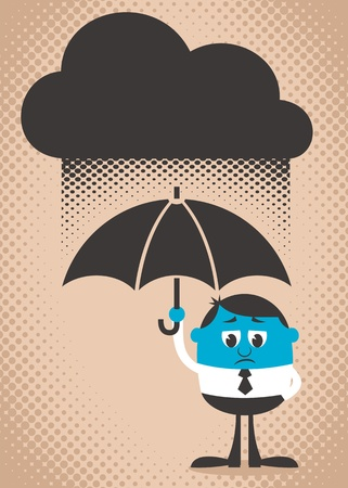 Conceptual illustration of sad and blue man. Use the dark cloud as copy space if you want. Easy to change colors.
